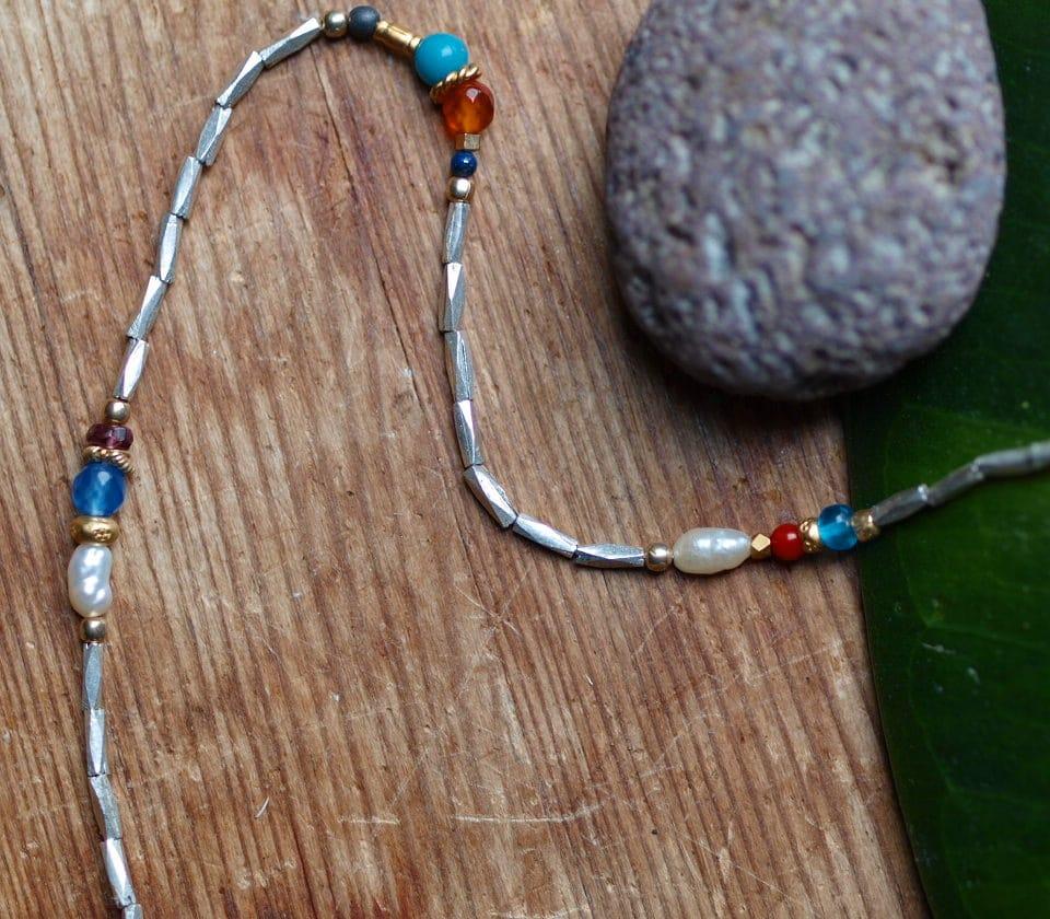 Unikat Kette Silber 925 facettiert tlw. vergoldet diverse Perlen und Steine