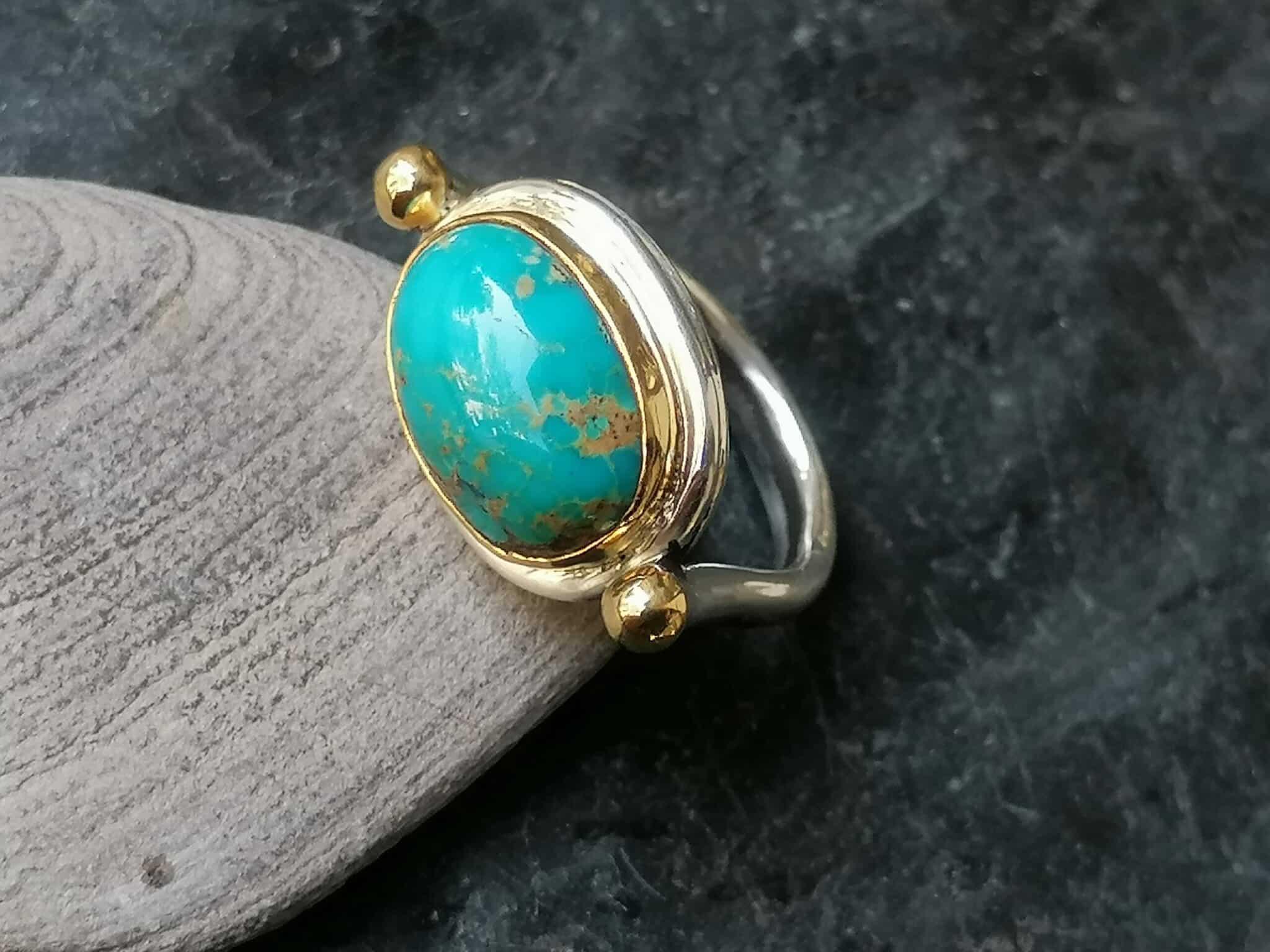Unikat Ring Silber 925 Gold 900 Türkis Iran Ringgröße 57