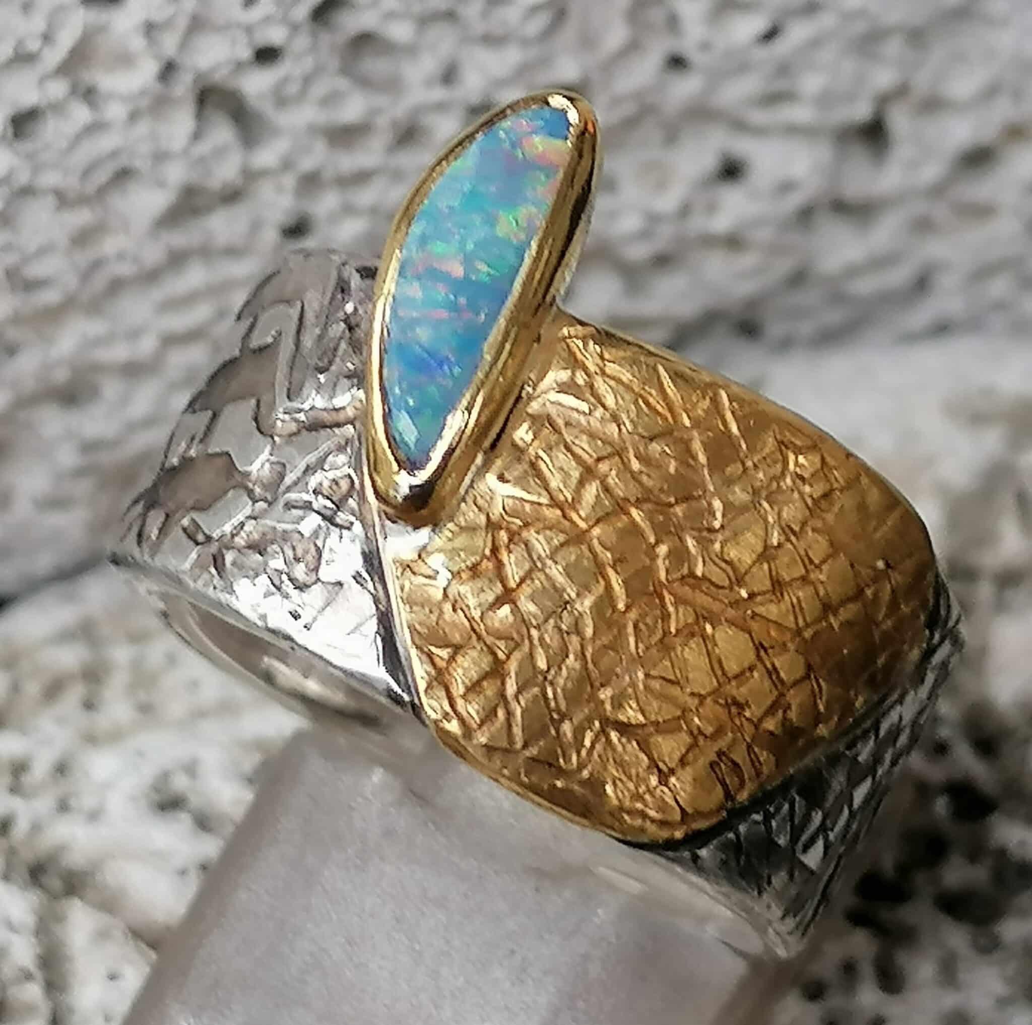 Unikat Ring Silber 925 Gold 900 Leguanhaut Boulder Opal Edelopal 58