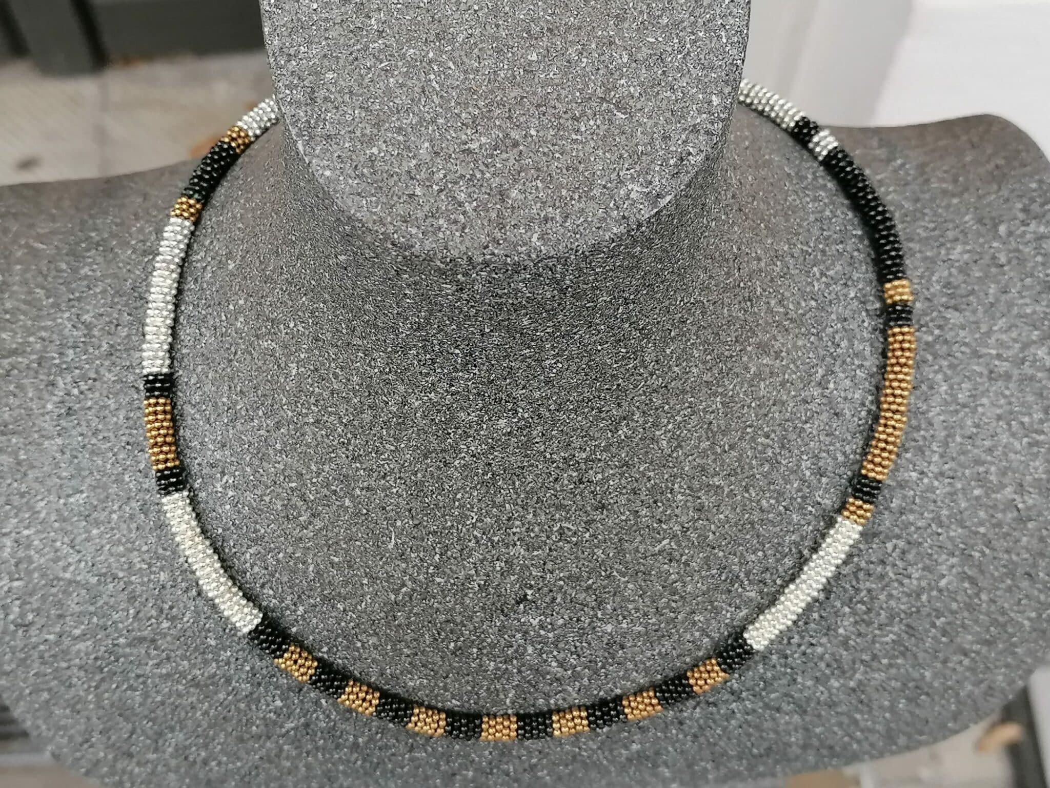 Leguan Kette Silber 925 teilweise vergoldet sulfidiert Unikat 45 cm