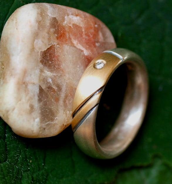 Unikat Ring Silber 925 Gold 750 Kontur geschwärzt Brillant 56