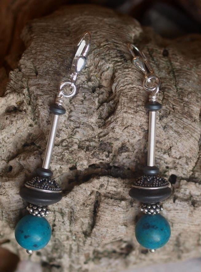 Unikat Ohrschmuck Ohrring Silber 925 granuliert Chrysokol Kugel Onyx Onix