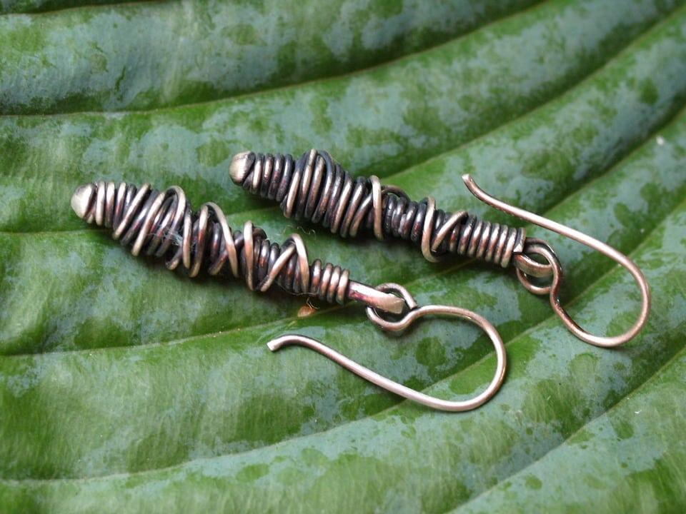 Unikat Ohrschmuck Ohrhänger Ohrring Silber 925 geschwärzt gewickelt