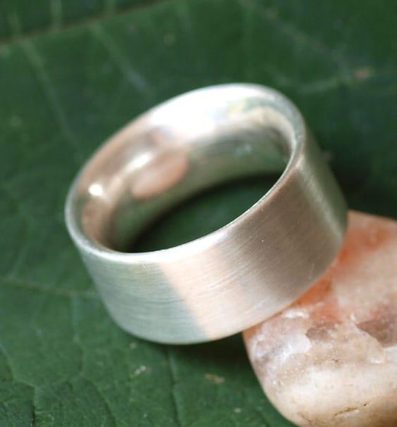 Schlichter Designer Ring Silber 925 breit massiv matt innen bombiert 64
