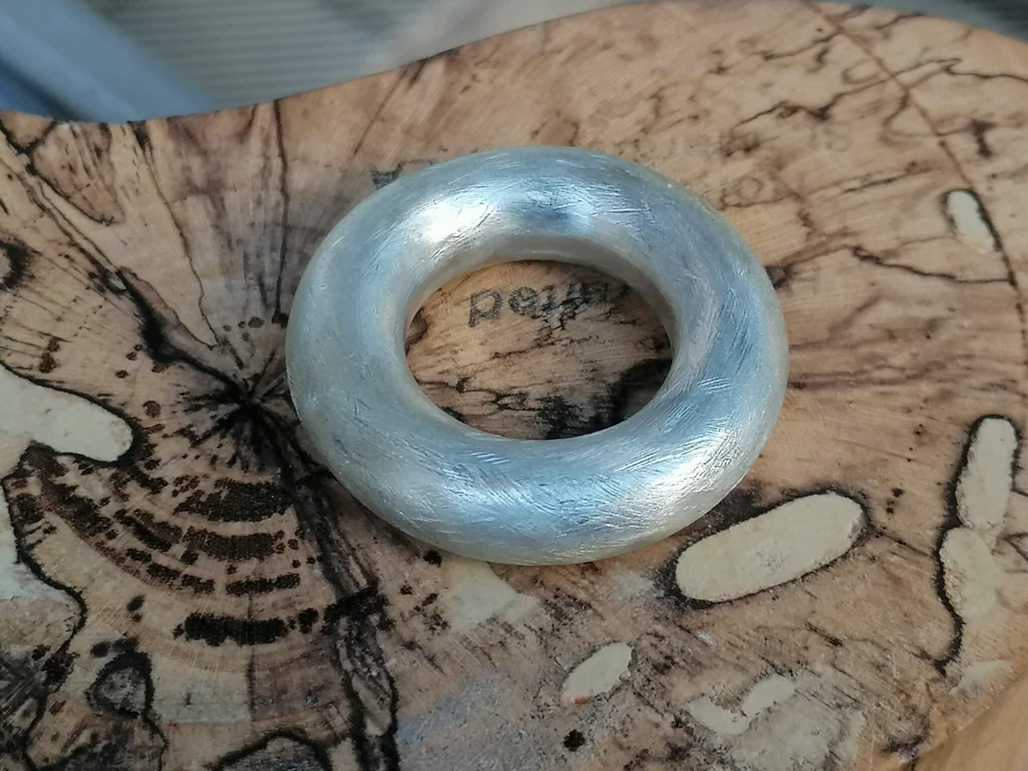 schlichter Designer Ring Silber 925 eismatt runde Schiene xxl 7,9 mm Größe 57
