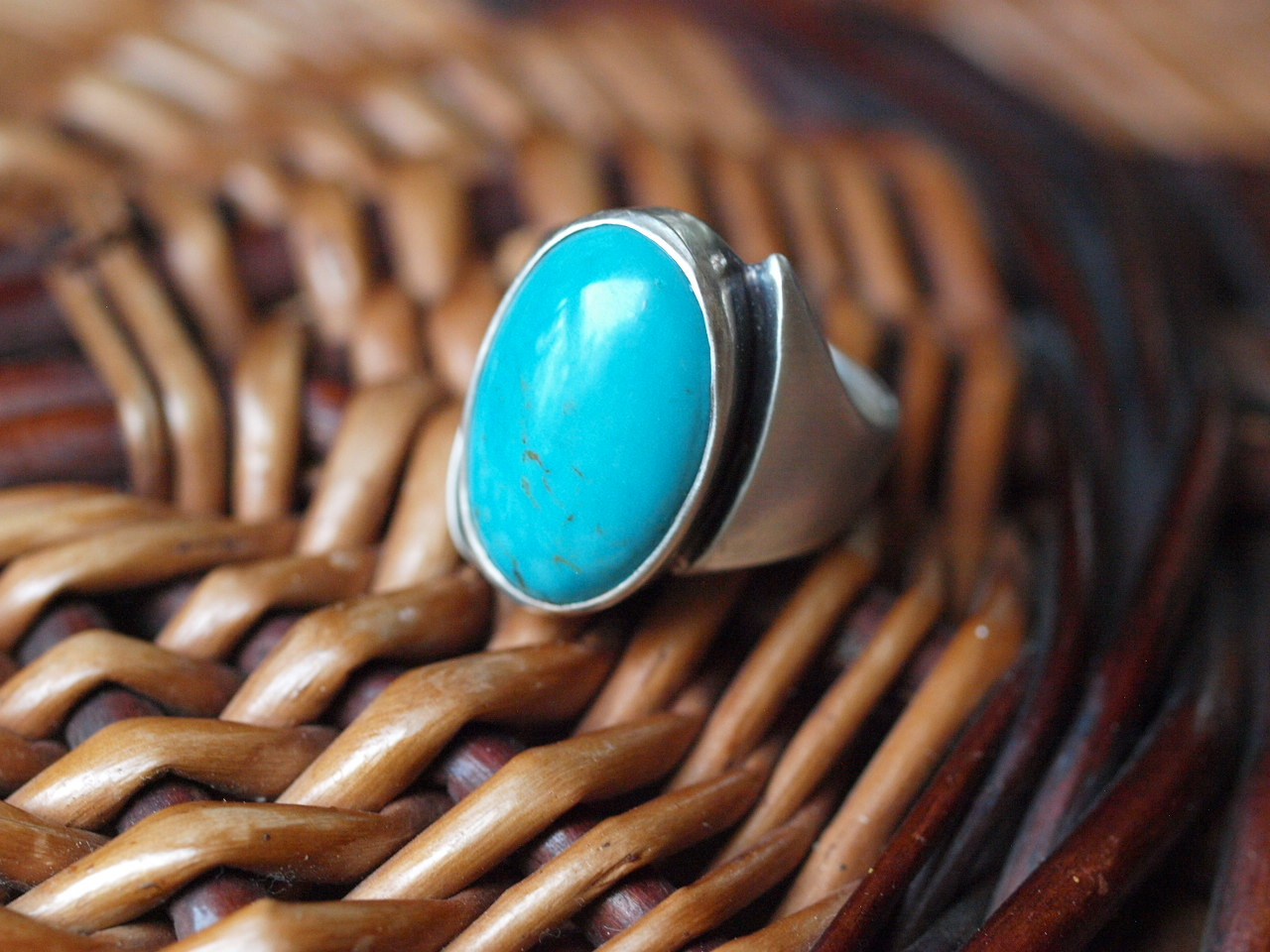 Unikat Ring Silber 925 Türkis 58
