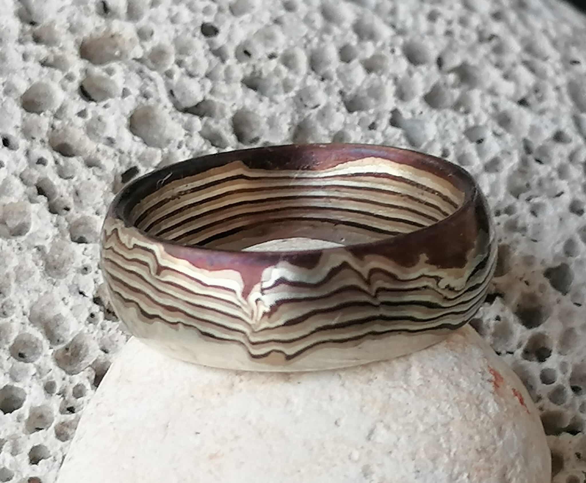 Trauring Mokume gane Ring Silber 925 Shakudo Shibuichi Wellenmuster Unikat