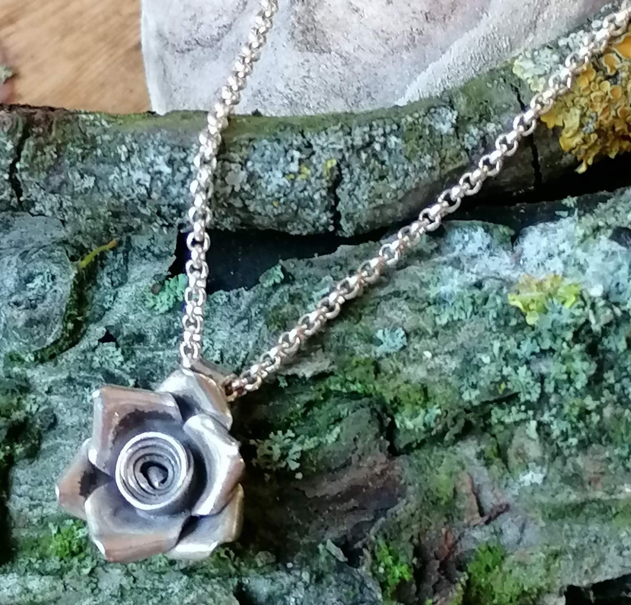 Designer Kette Erbskette Silber 925 Anhänger Rose Blume 50 cm