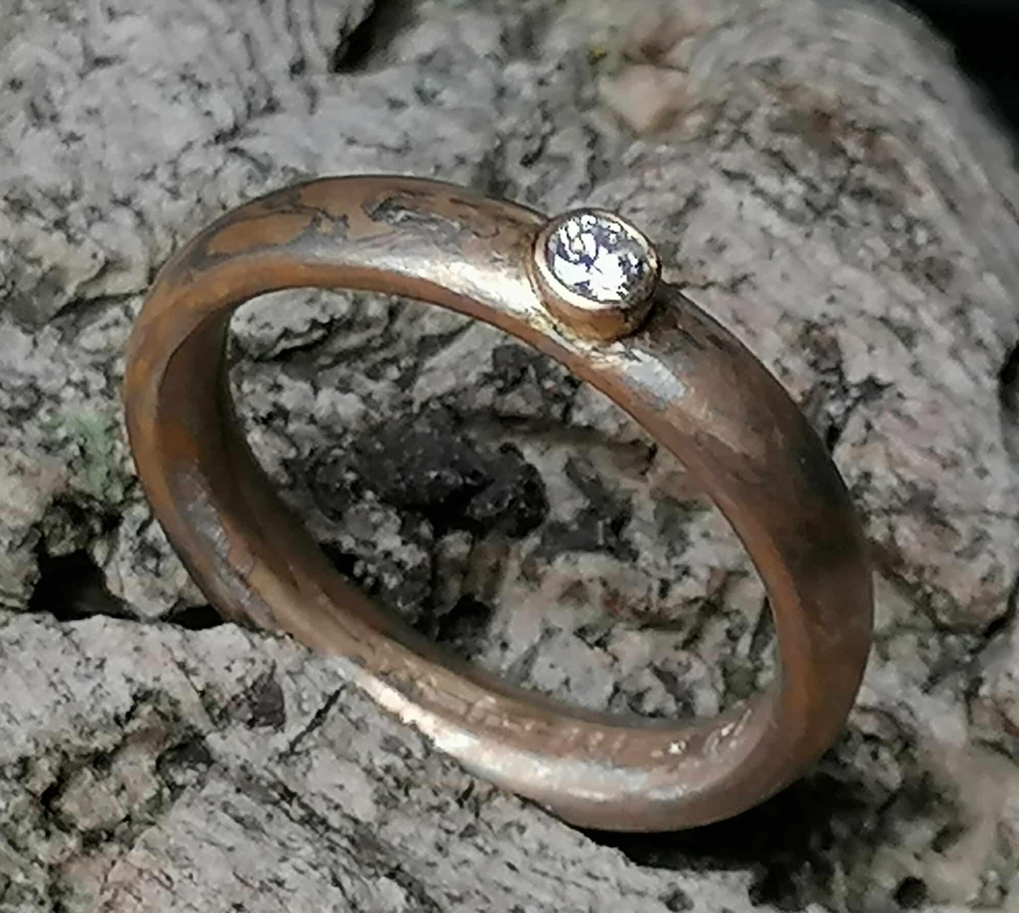 Unikat Ring Mokume Gane Brillant 0,07 ct Gold 900 Platin 950 Silber 925 Mokumegane Ringröße 57/17