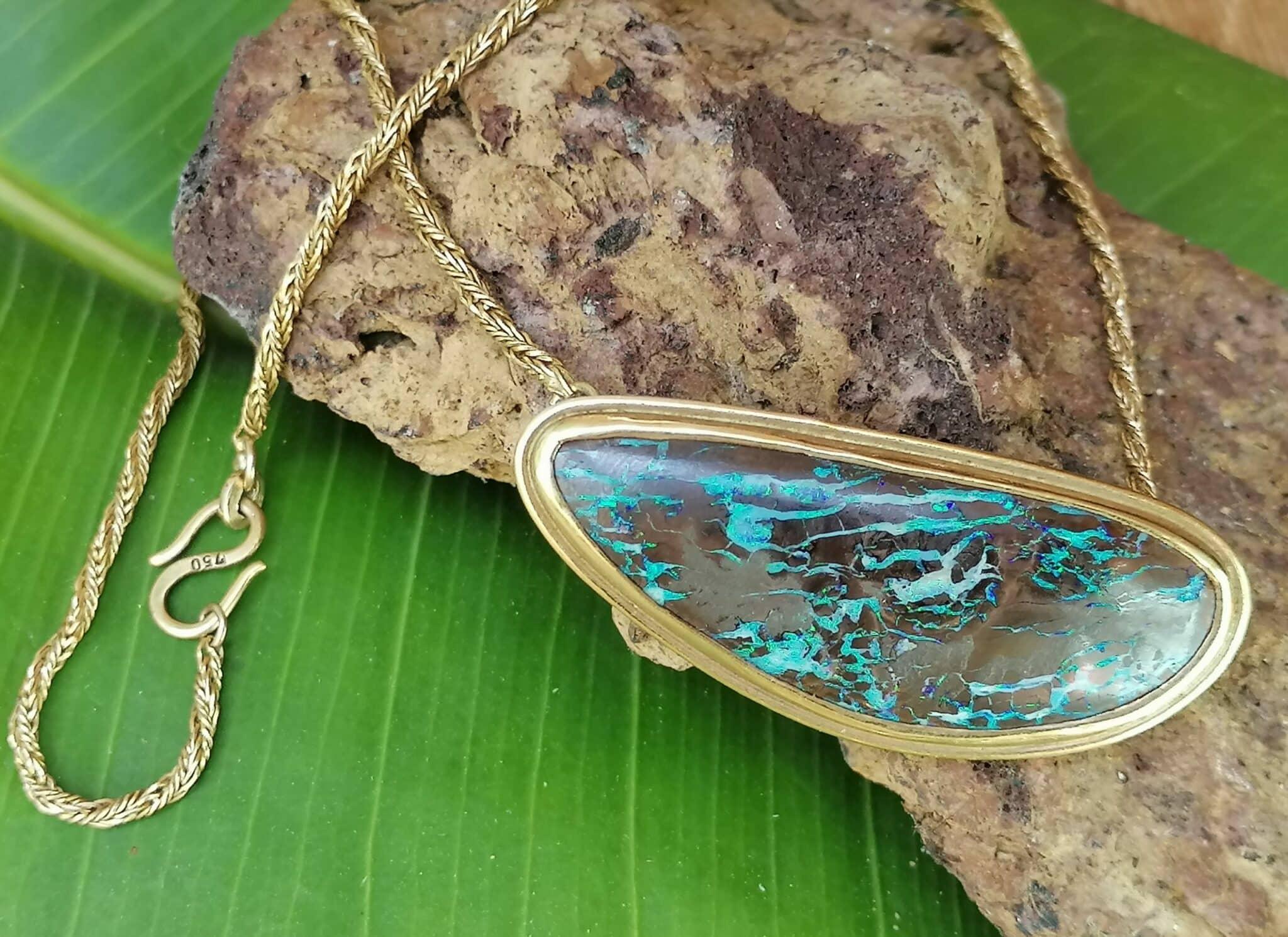 Unikat Brosche Kette Fuchsschwanzkette gedreht Collier Gold 750 Opal Boulder 42 cm