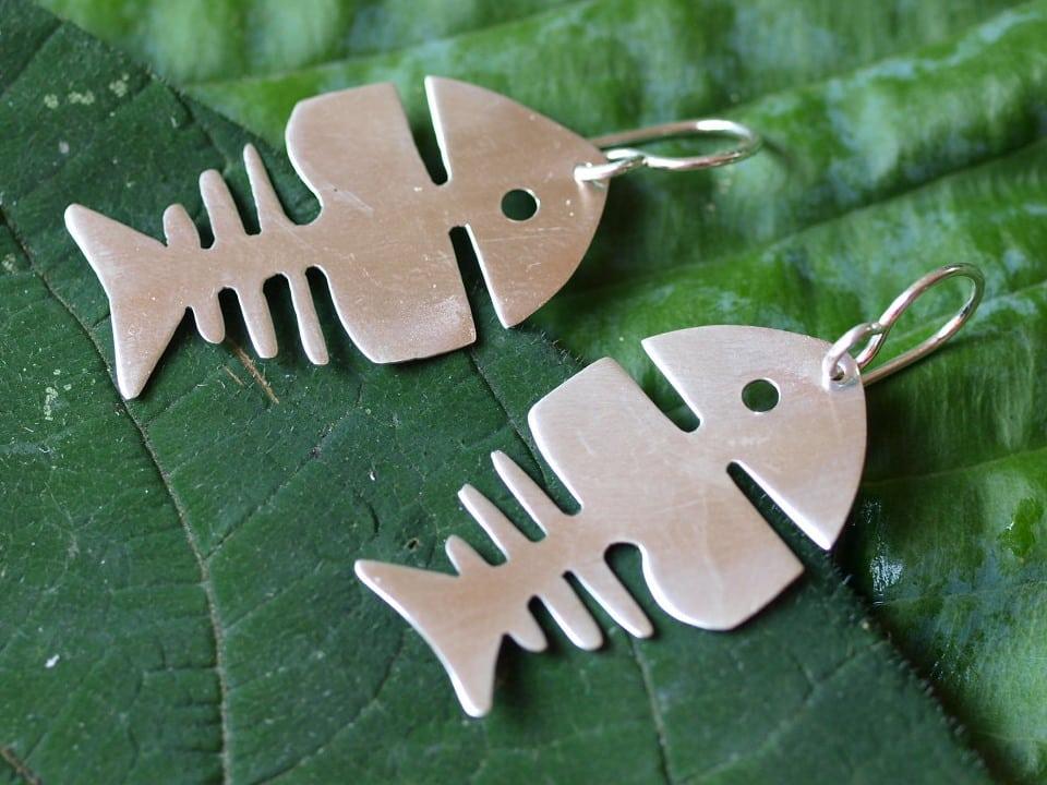 Unikat Ohrschmuck Ohrhänger Ohrringe Silber 925 Fisch Fischgräte mattiert