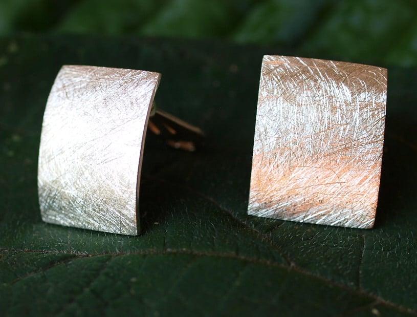 Ohrclips Ohrschmuck Clip Silber 925 eismattiert Viereck gebogen 16 x 20 mm