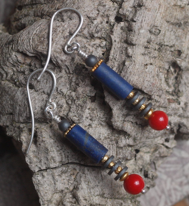 Unikat Ohrschmuck Ohrring Silber 925 Koralle Kugel, Hämatit Scheiben, Lapislazuli Zylinder Lapis Lazuli