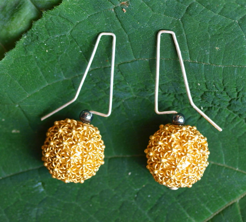 Unikat Ohrschmuck Ohrring Silber 925 vergoldet granuliert Kugel