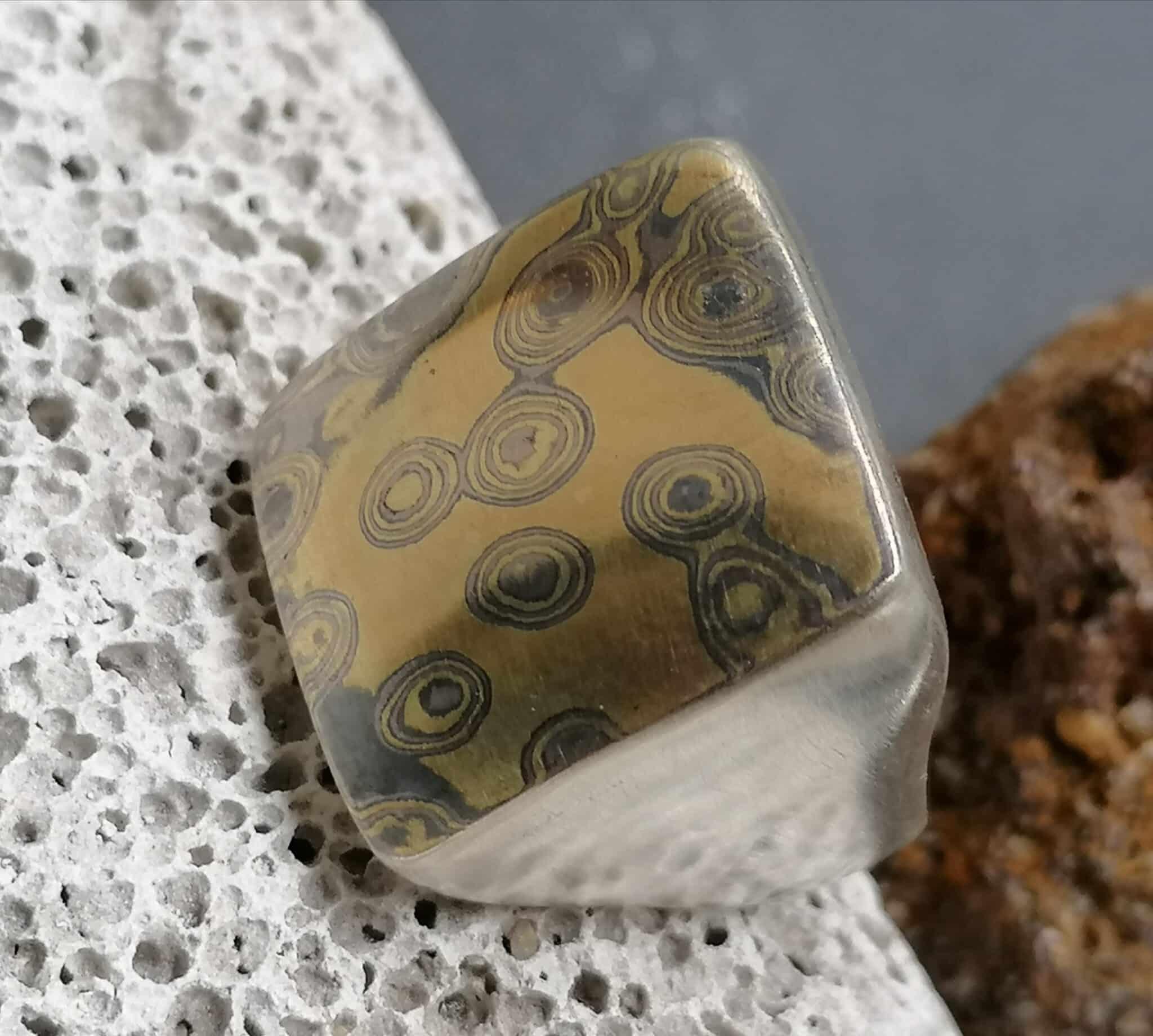 Unikat Ring Silber 925 mit Mokume Gane Gold 900 Palladium 500 Herrenring Siegelring