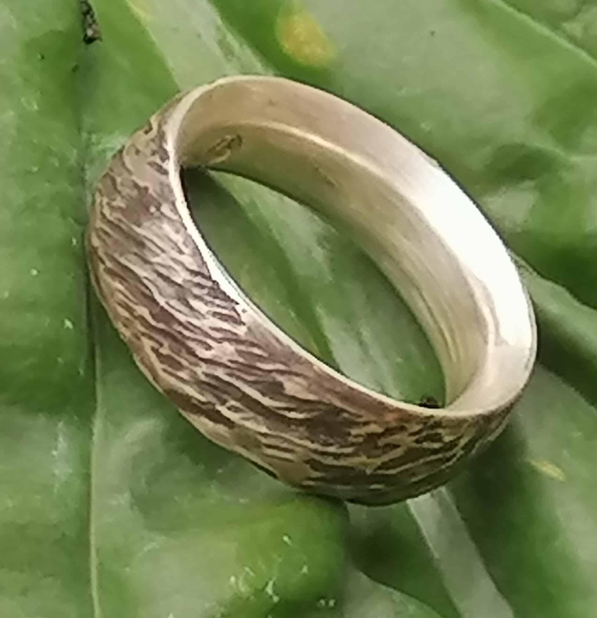 Unikat Ring Silber 925 grob geschmiedet mit Strukturen Ringröße 54 Rindenstruktur geschwärzt