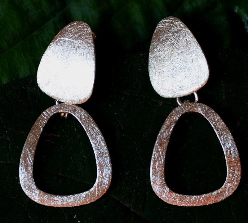 Unikat Ohrschmuck Ohrringe Ohrhänger Silber 925  eismattiert