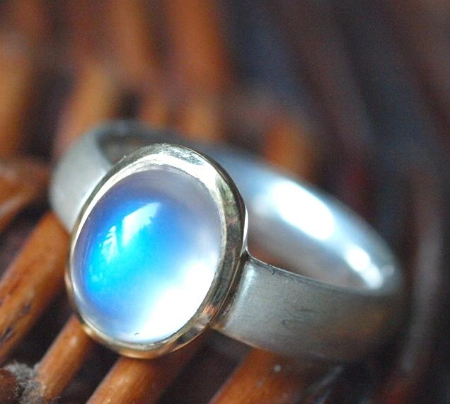 Unikat Ring Silber 925 Gold 750 Ceylon Mondstein 53