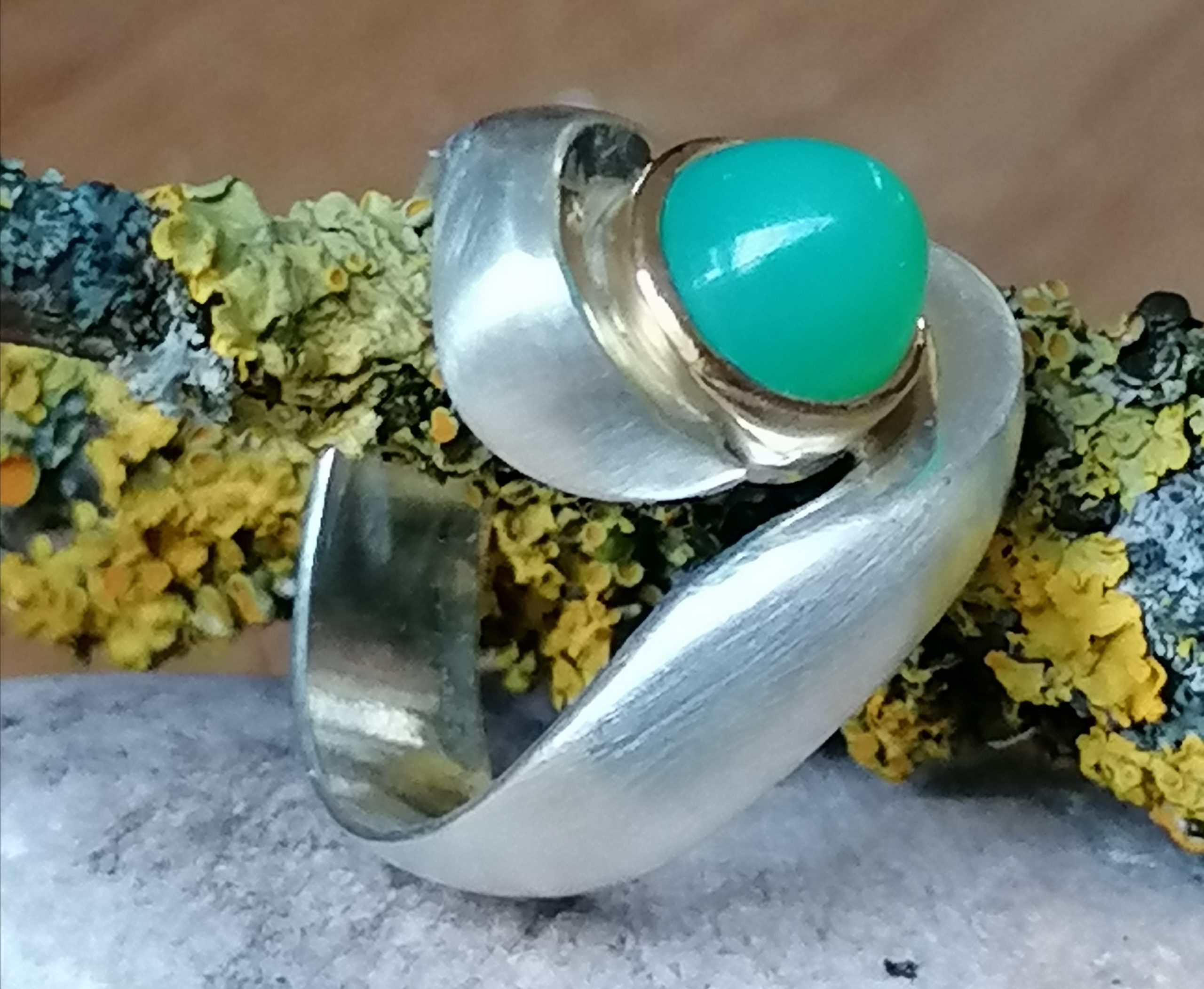 Unikat Ring Silber 925 Gold 750 Chrysopras Ringgröße 56