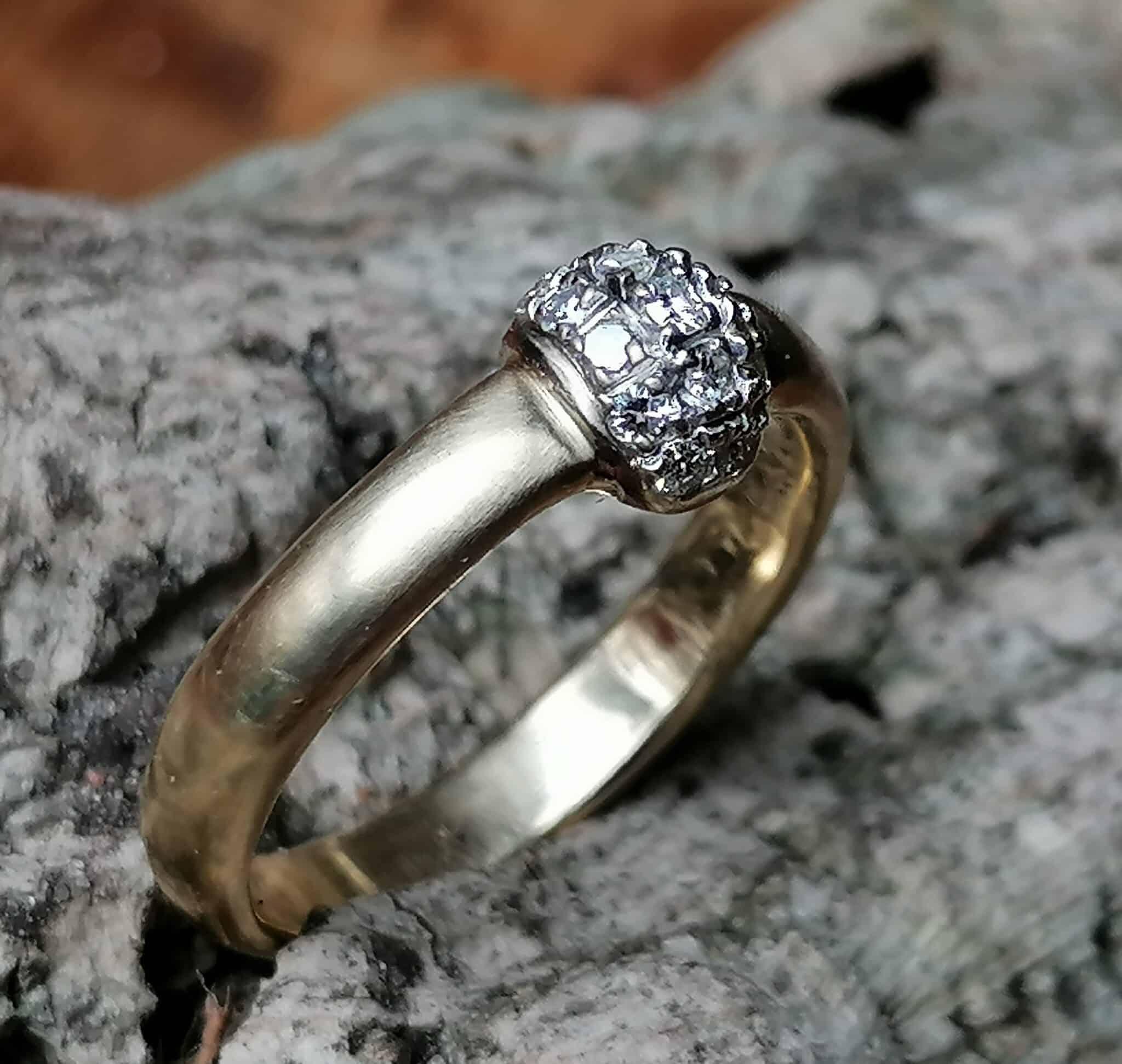 Unikat Ring 13 Brillanten 0,4 ct vs Gold 585 Weißgold 585 Ringröße 55/17,5
