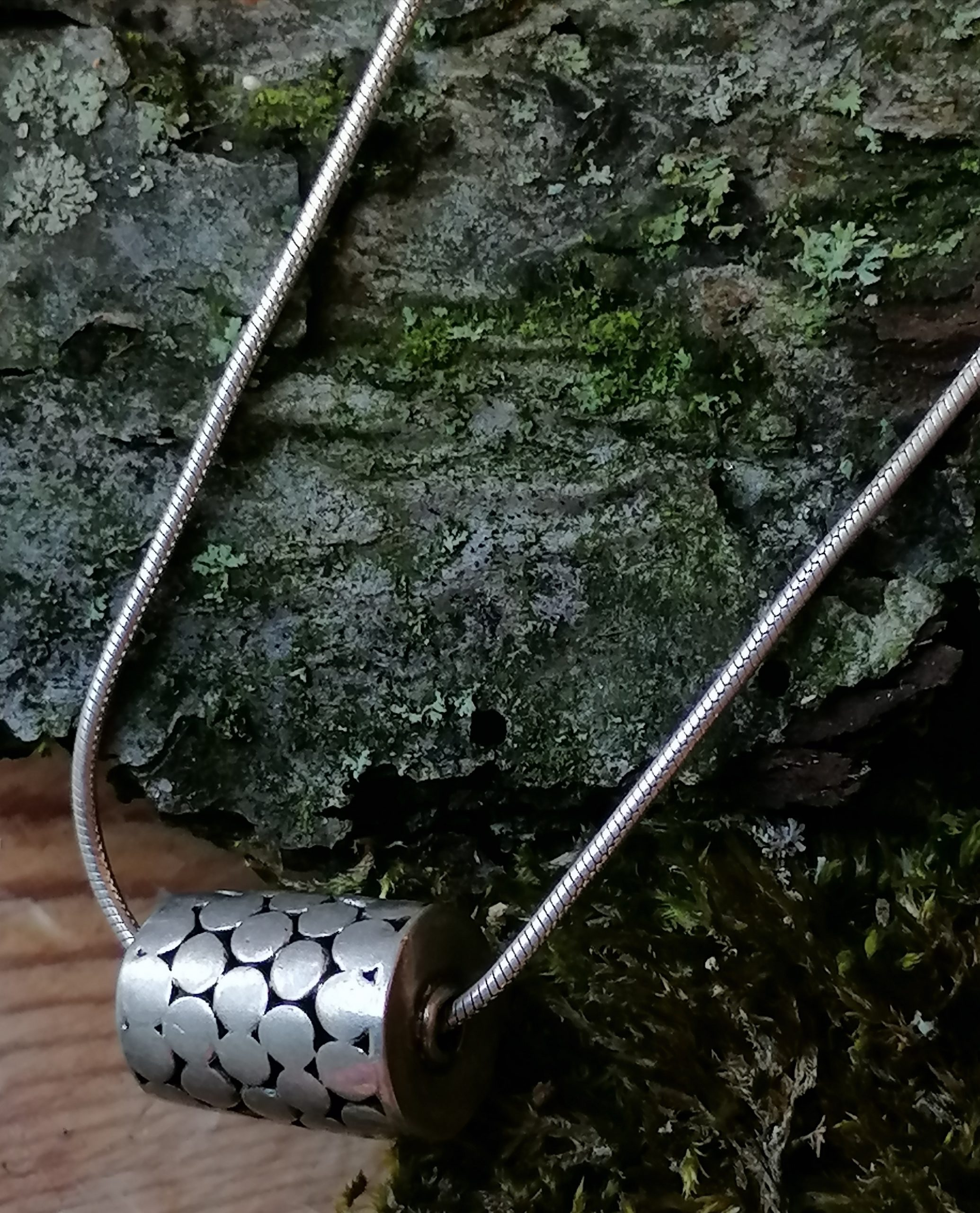 Designer Kette Silber 925 Anhänger Zylinder mit Kreisen belötet 40 cm