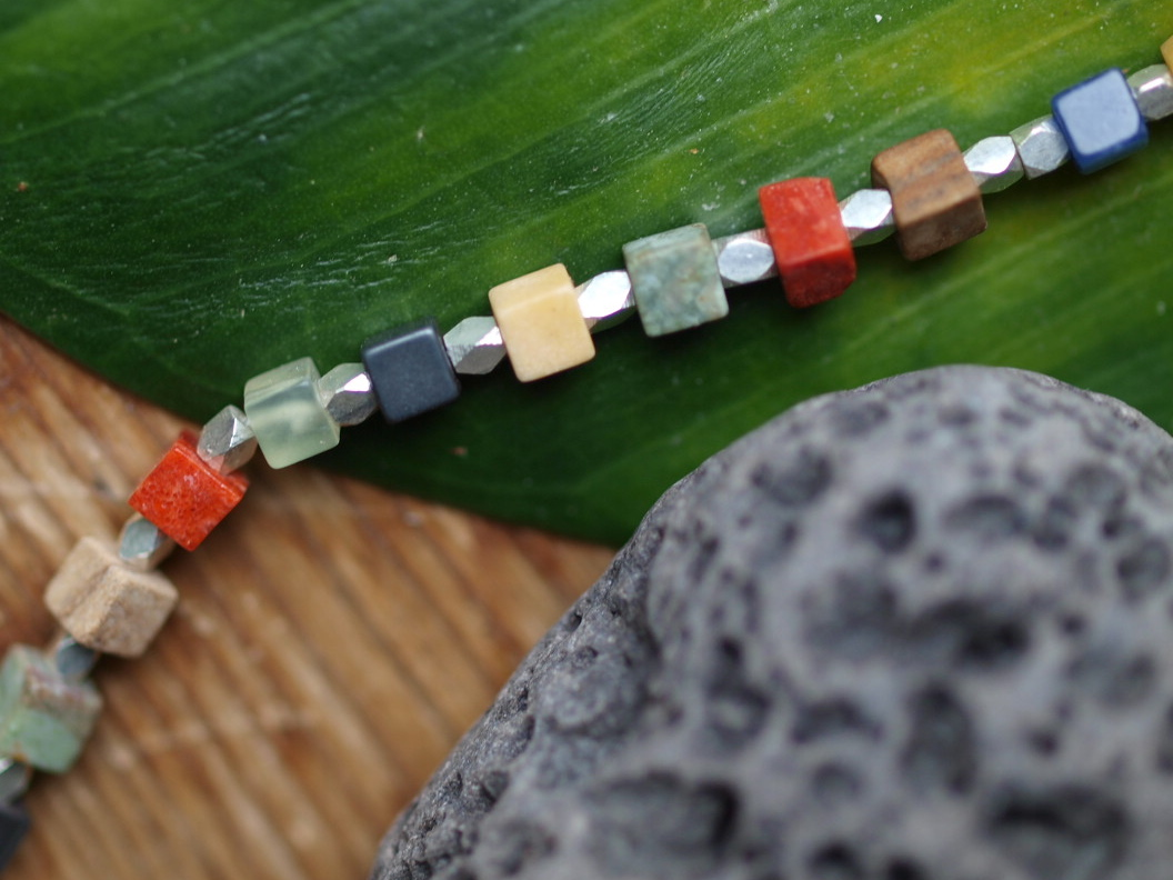Unikat Kette Silber 925 facettiert diverse Halbedelsteine  bunte Würfel