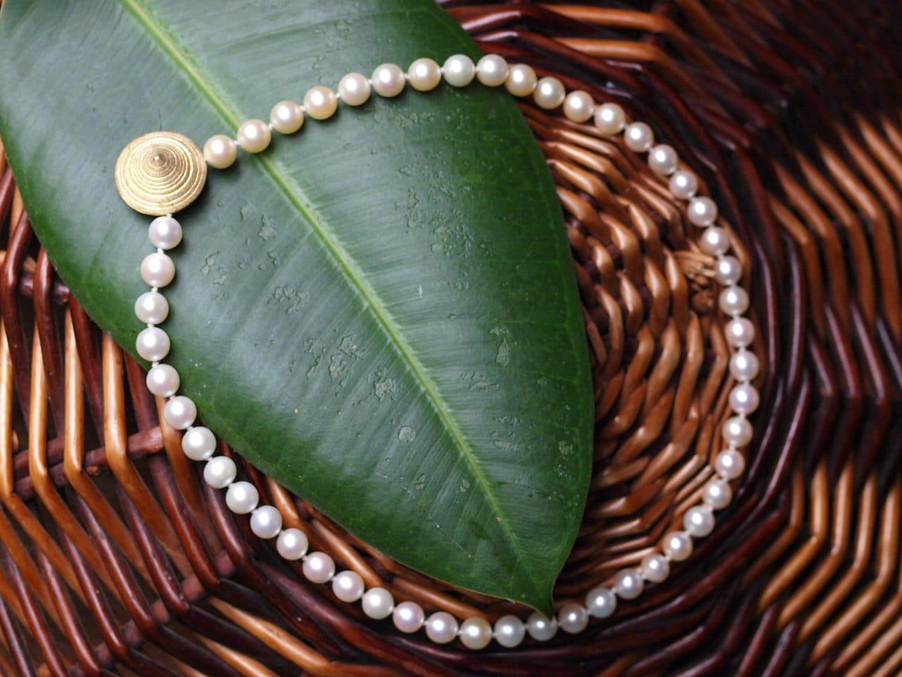 Kette Silber 925 vergoldet Perlkette Akoya Zuchtperlen Magnetverschluss
