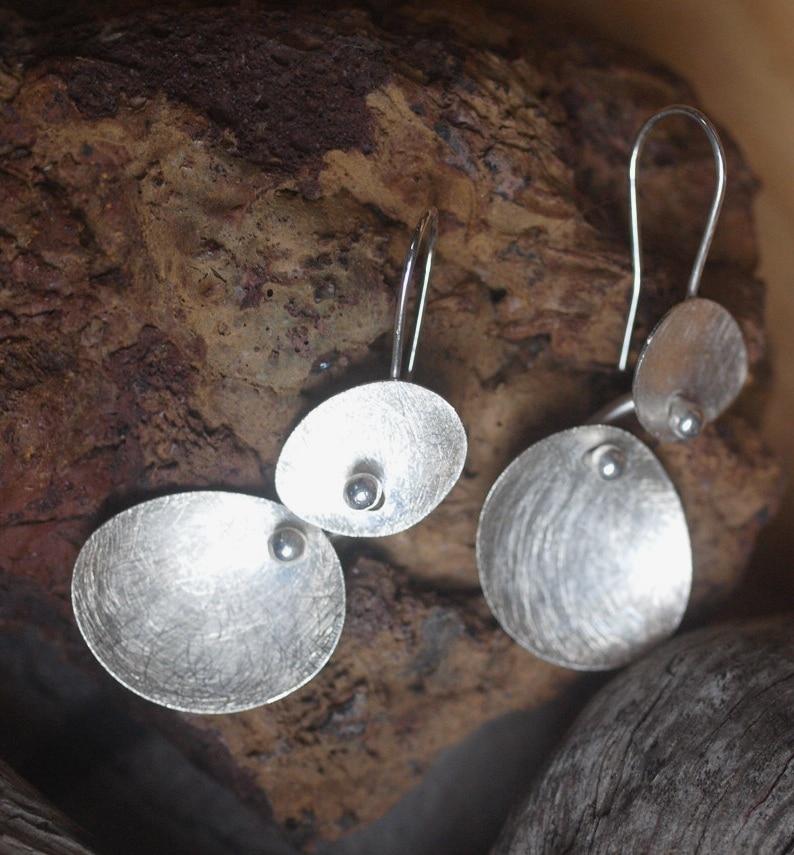 Unikat Ohrschmuck Ohrringe Ohrhänger Silber 925 organisch Blätter eismattiert