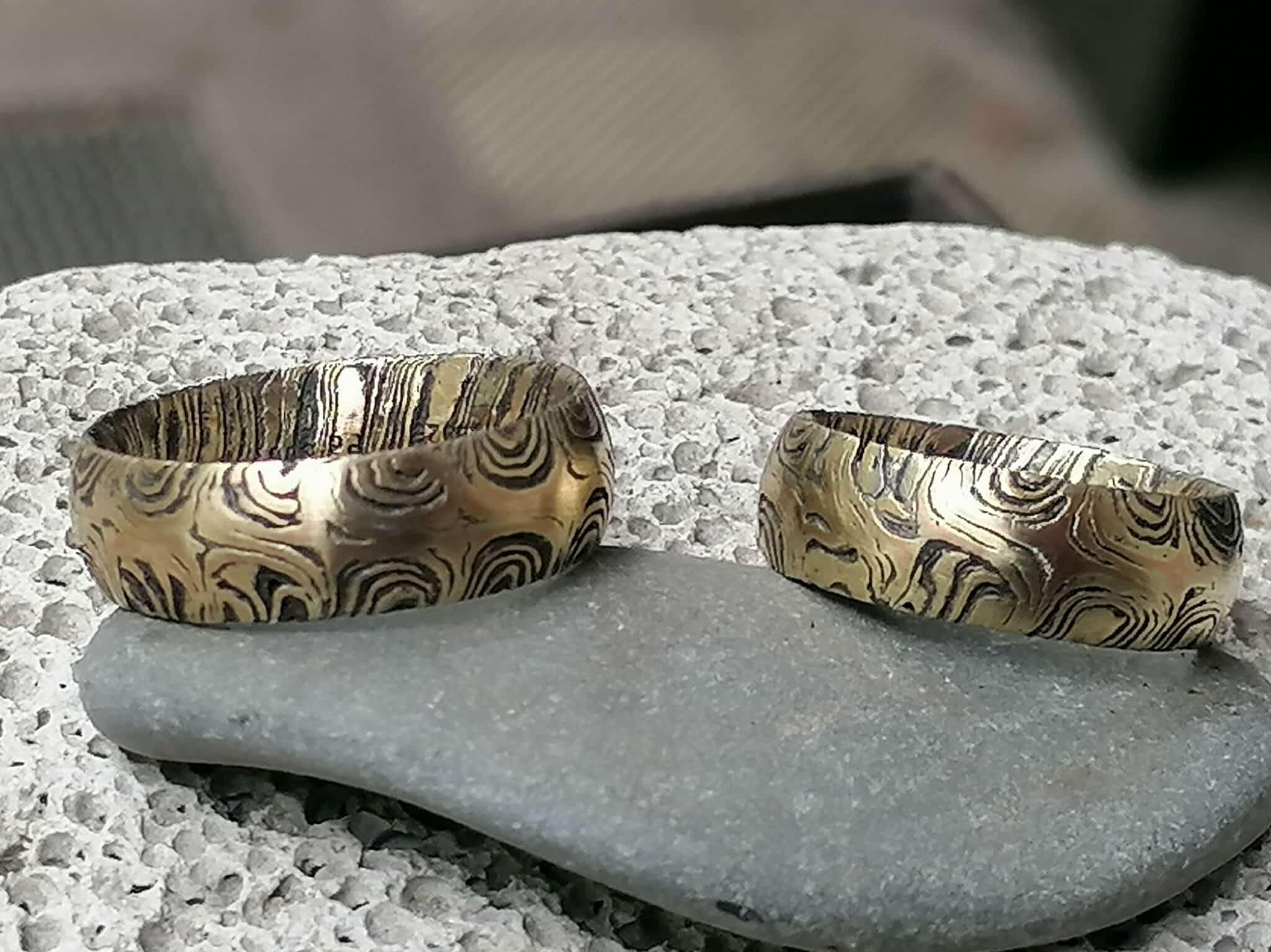 Trauringe Mokume Gane Gold 900 Palladium 500 Rosegold 750 Silber 925 Sternmuster