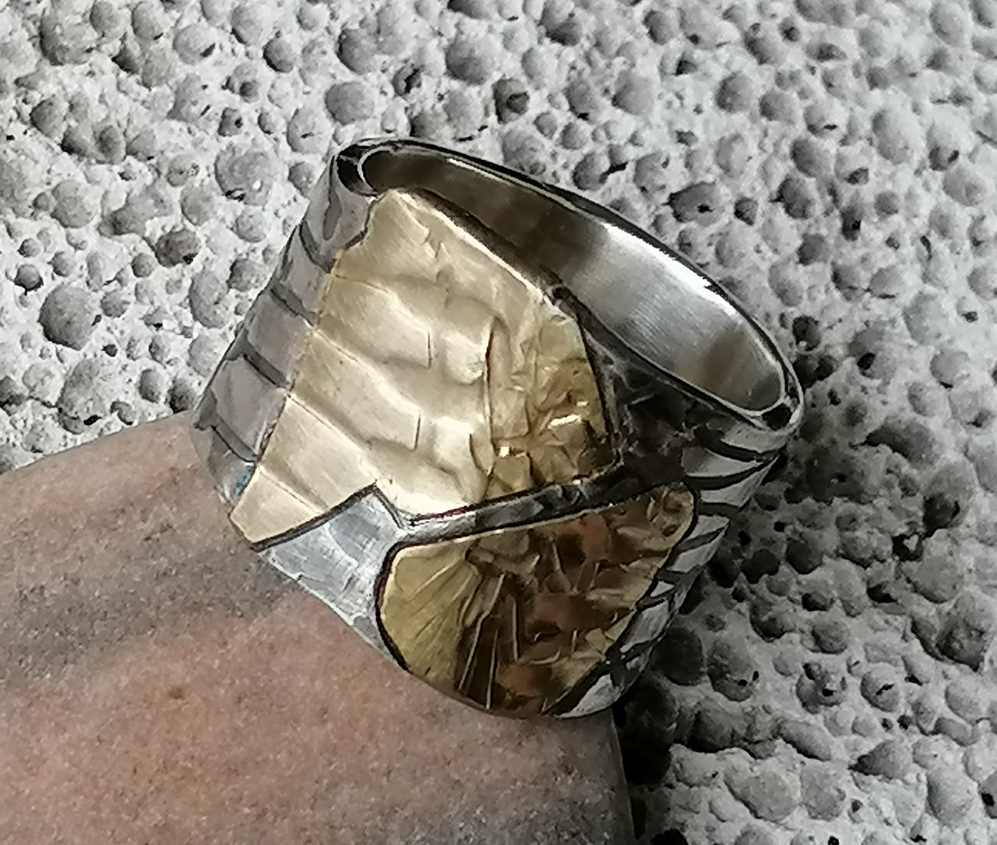 Breiter Unikat Ring Silber 925 Gold 750 Leguanhaut 58
