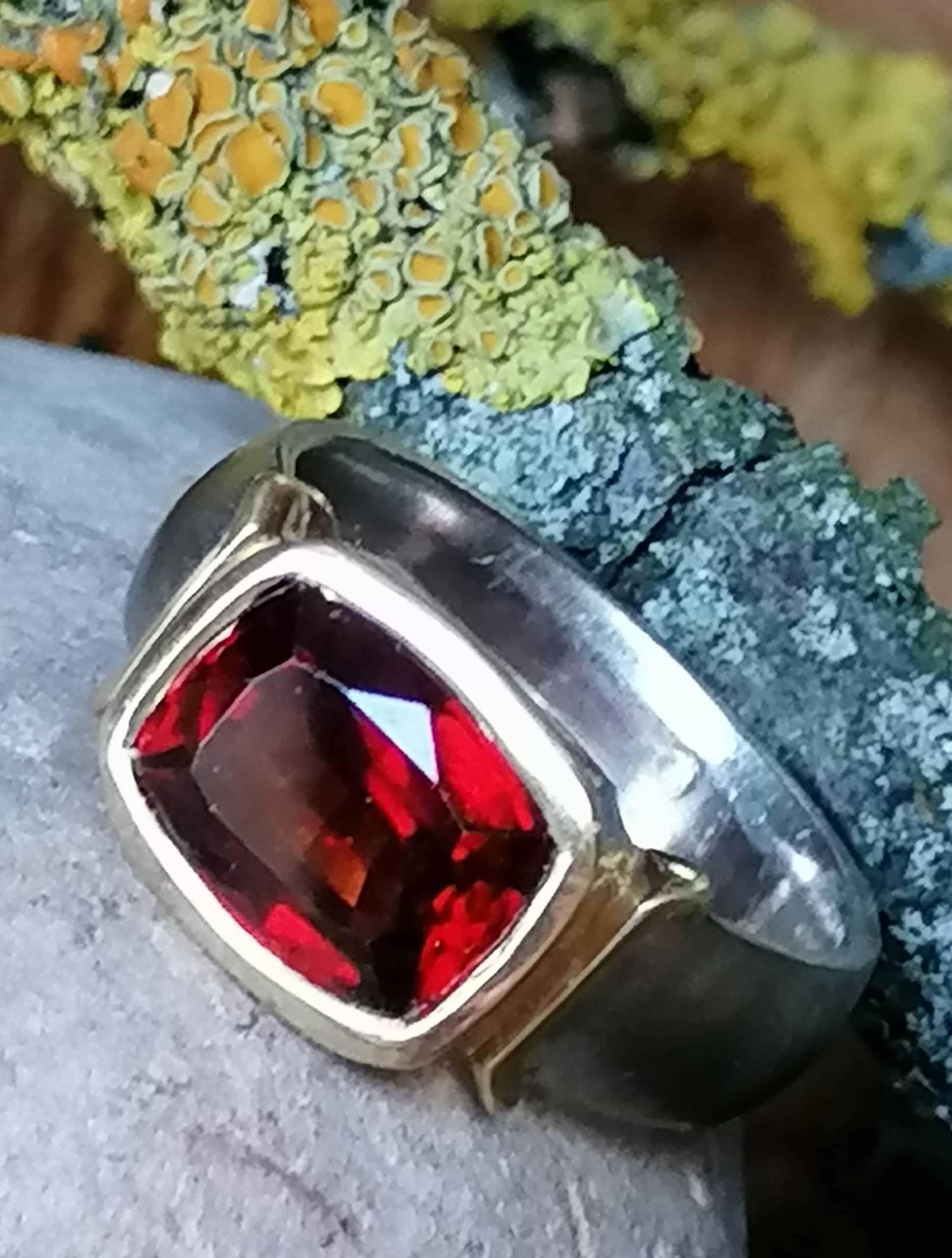 Unikat Ring Weißgold Weissgold 585 Gold 750 Granat Rhodolith 5,6 ct