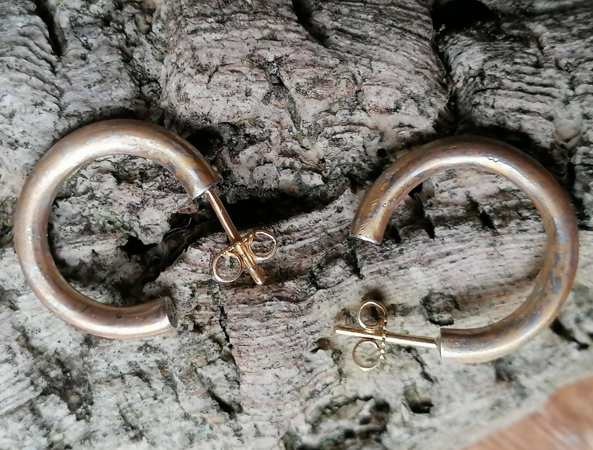 3/4 Creolen Unikat Mokume Gane Gold 900 Platin 950 Steckermechanik Mokumegane