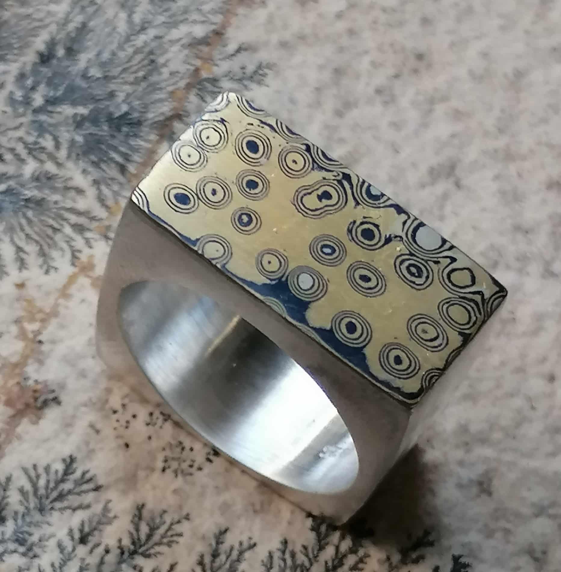 Unikat Ring Silber 925 mit Mokume Gane Wurzelholzmaserung Gold 900 Silber 925 Viereck Vierkant 58