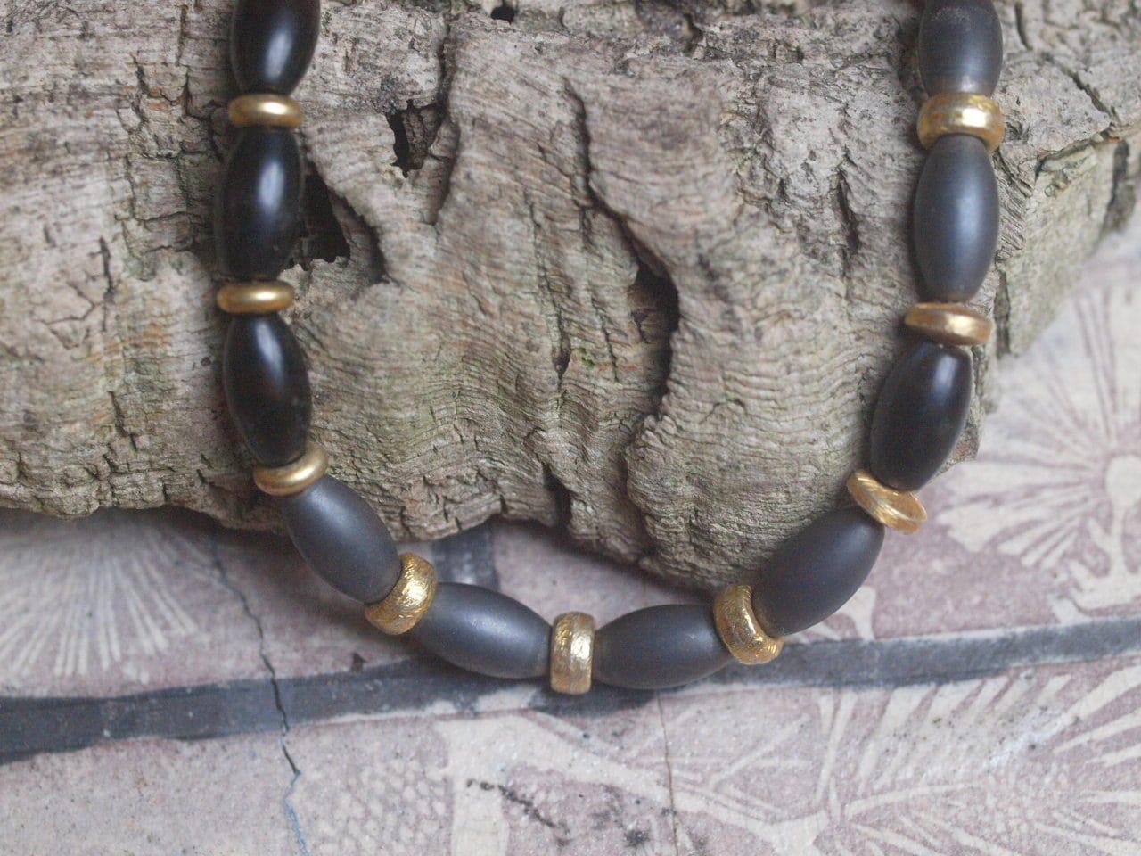 Leguan Kette Silber 925 vergoldet granuliert Hämatit Onyx Oliven matt 43 cm