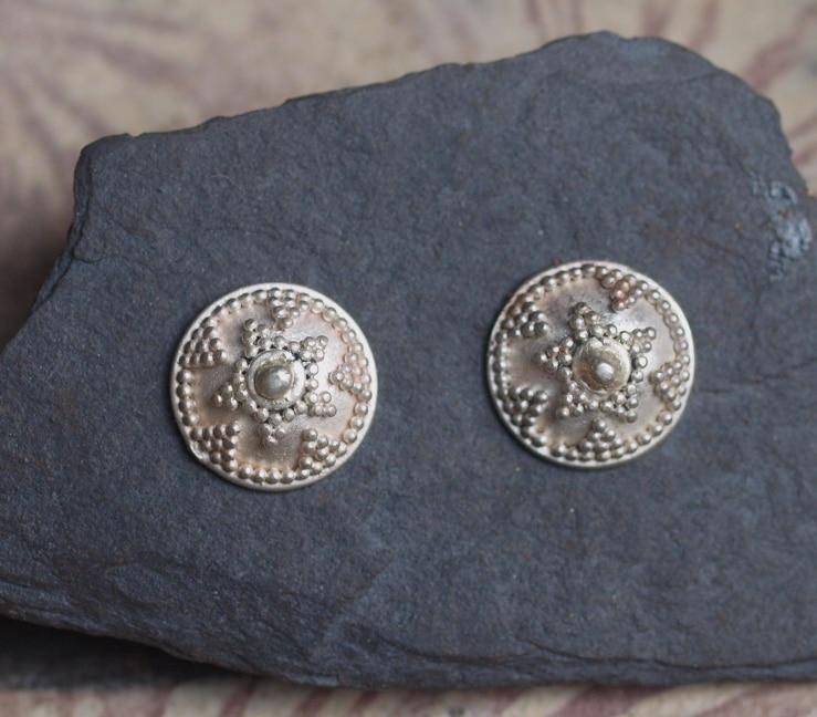 Ohrstecker Silber 925 Scheibe Schild granuliert belötet
