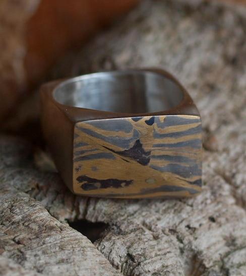 Unikat Ring Silber 925 mit Mokume Gane Gold 900 Silber 925 Viereck Vierkant 58
