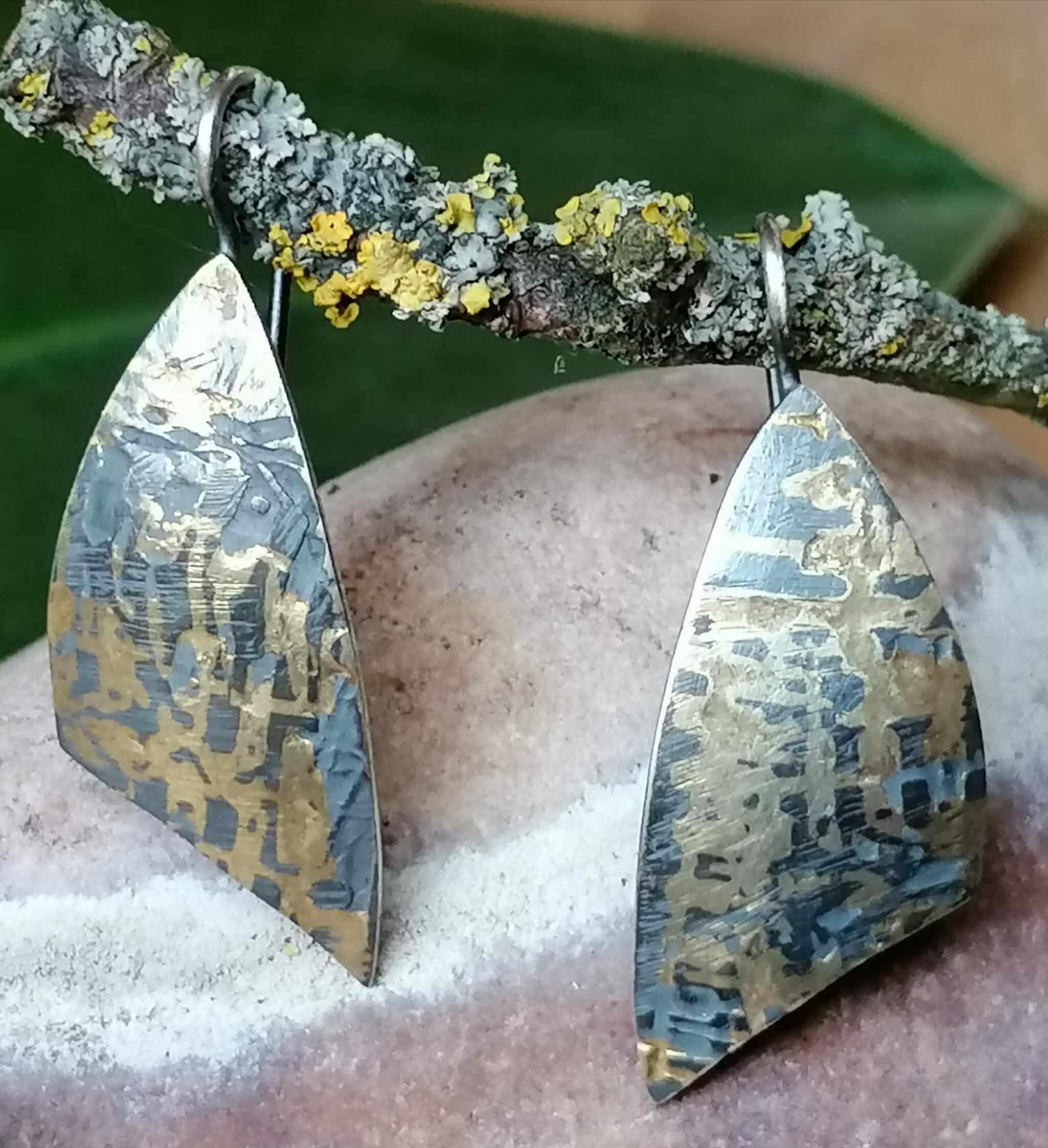 Ohrschmuck Ohrhänger Ohrring Gold 750 Silber 925 geschwärzt strukturiert gewölbt