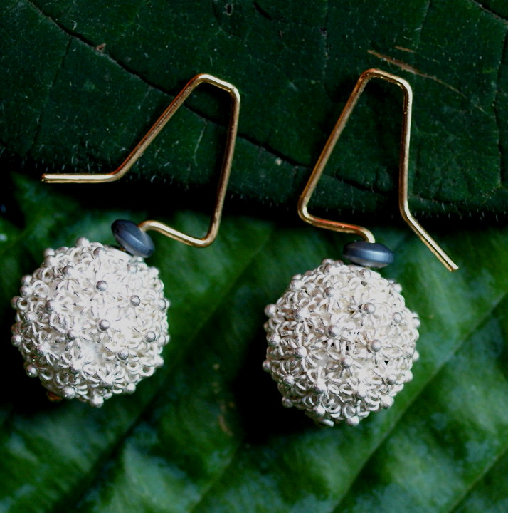 Unikat Ohrschmuck Ohrring Silber 925 granuliert Gold 750 Kugel Blümchen
