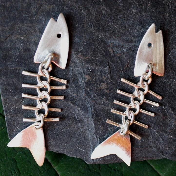 Unikat Ohrschmuck Ohrringe Silber 925 Fisch Fischgräte mattiert