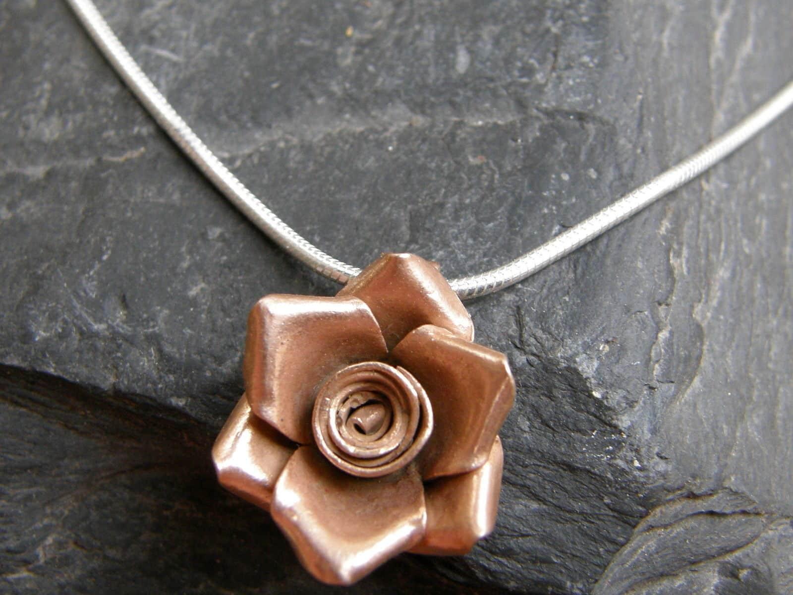 Designer Kette Silber 925 Anhänger Rose Blume Rotgold vergoldet