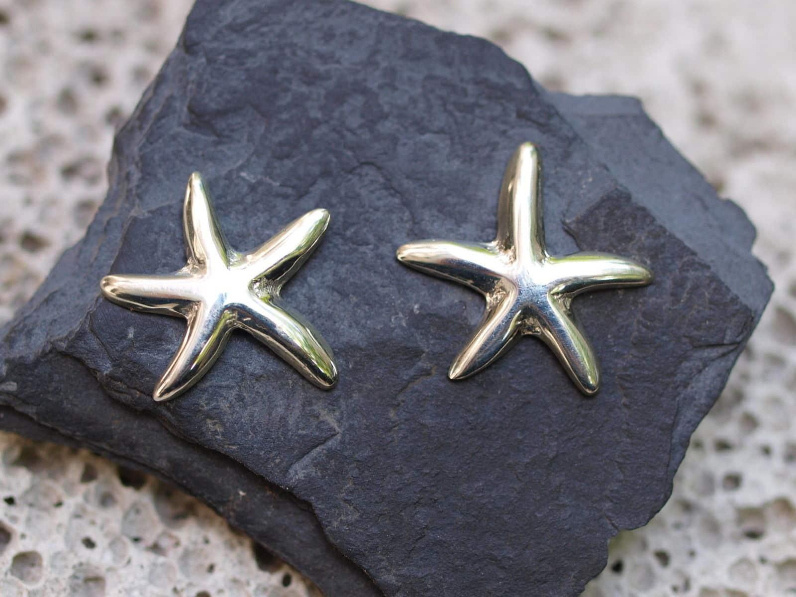 Designer Ohrstecker Silber 925 Seestern Stern poliert