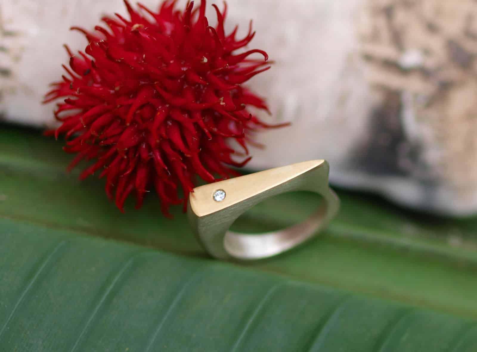 Designer Ring Silber 925 Gold 750 Brillant Dreieck Unikat