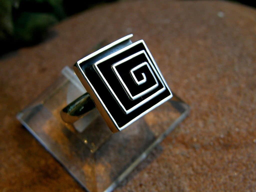 Designer Ring Silber 925 Schnecke Spirale viereckig