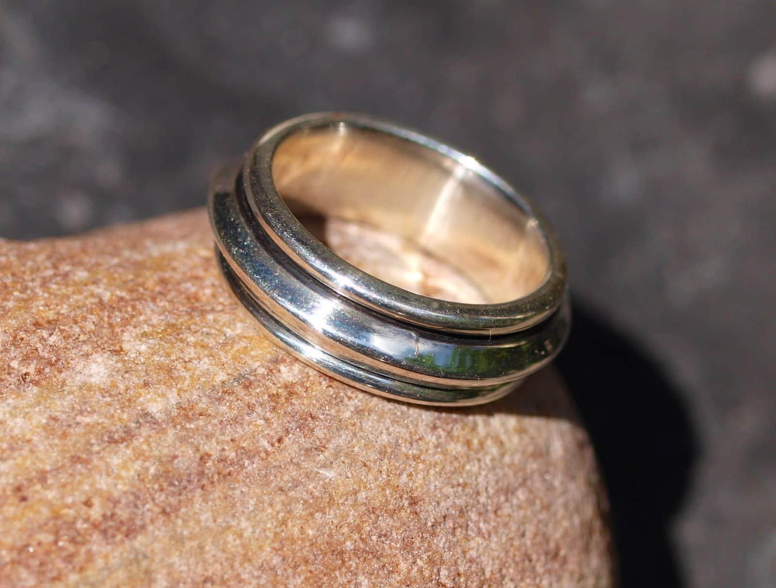 Designer Ring Silber 925 schmaler Klingelring Ring in Ring beweglich