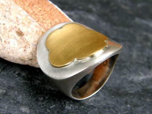 Designer Ring Silber massiv Gold 750 matt Unikat