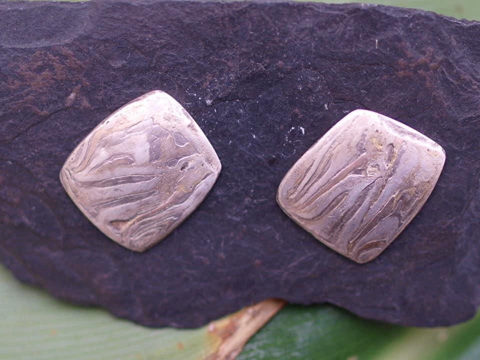 Mokume Gane Ohrstecker Silber 925 Rotgold 585 Palladium 500 geätzt Unikat