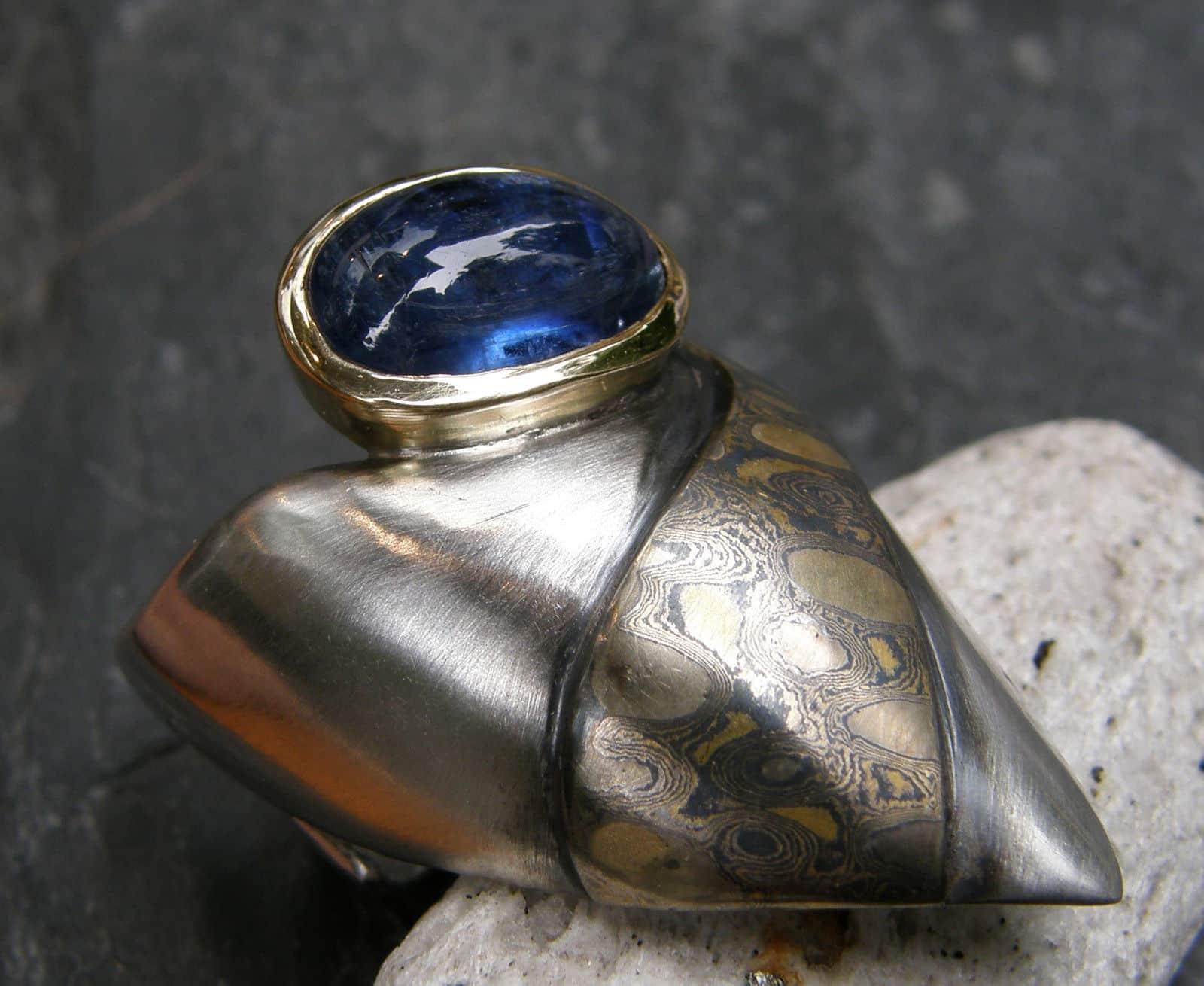 Ring Kralle Silber Gold Palladium Kyanit Mokume Gane