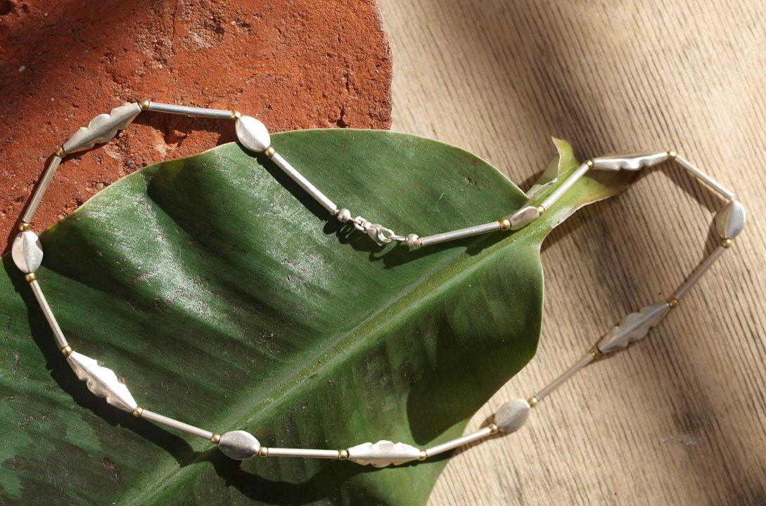 Unikat Kette Silber 925 Blätter ziseliert tlw.vergoldet Stäbe Hülsen 46,5 cm