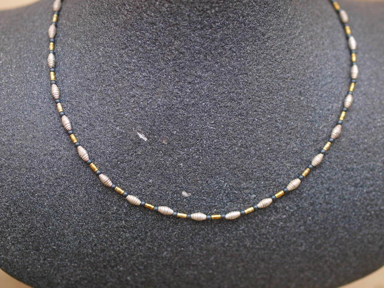 Unikat Kette Silber 925 Croissants teilweise vergoldet Hämatit 43 cm