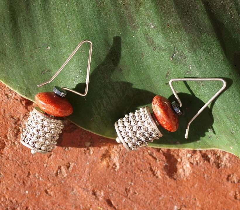 Unikat Ohrschmuck Ohrring Silber 925 granuliert Koralle Hämatit Ohrhänger